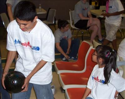Siblings at Family Bowling Nite